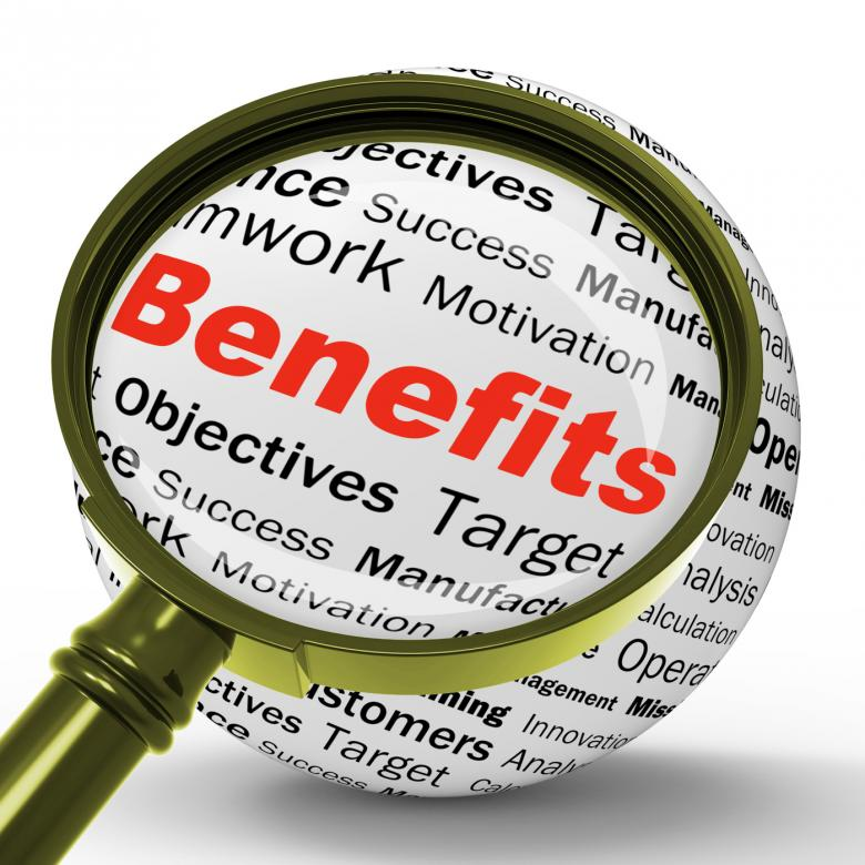 Free Stock Photo of Benefits Magnifier Definition Means Advantages Or Monetary Bonuses Created by Stuart Miles