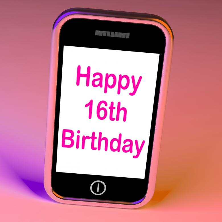 Free Stock Photo of Happy 16th Birthday On Phone Means Sixteenth Created by Stuart Miles