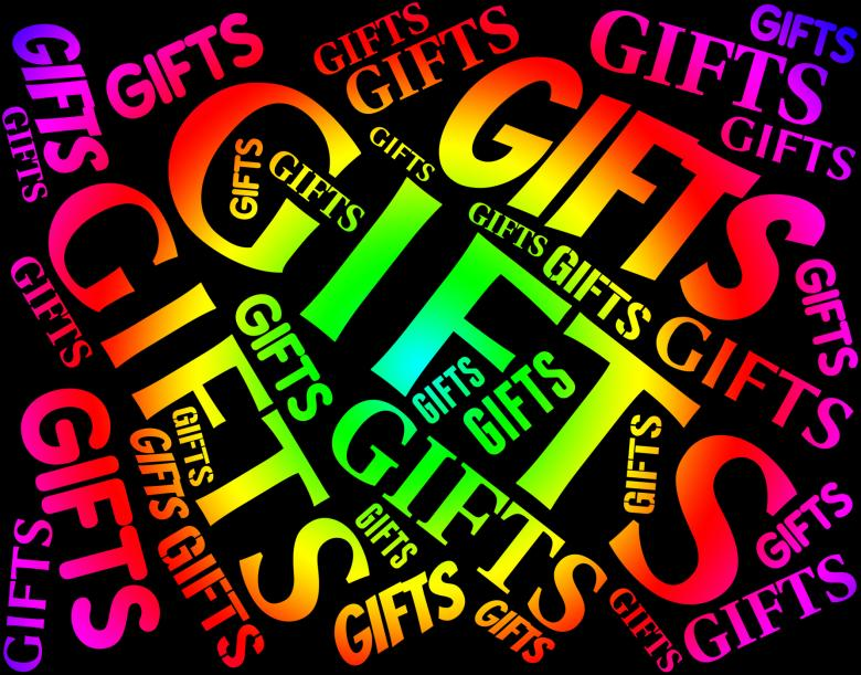 gifts word indicates present celebrate and giftbox free stock
