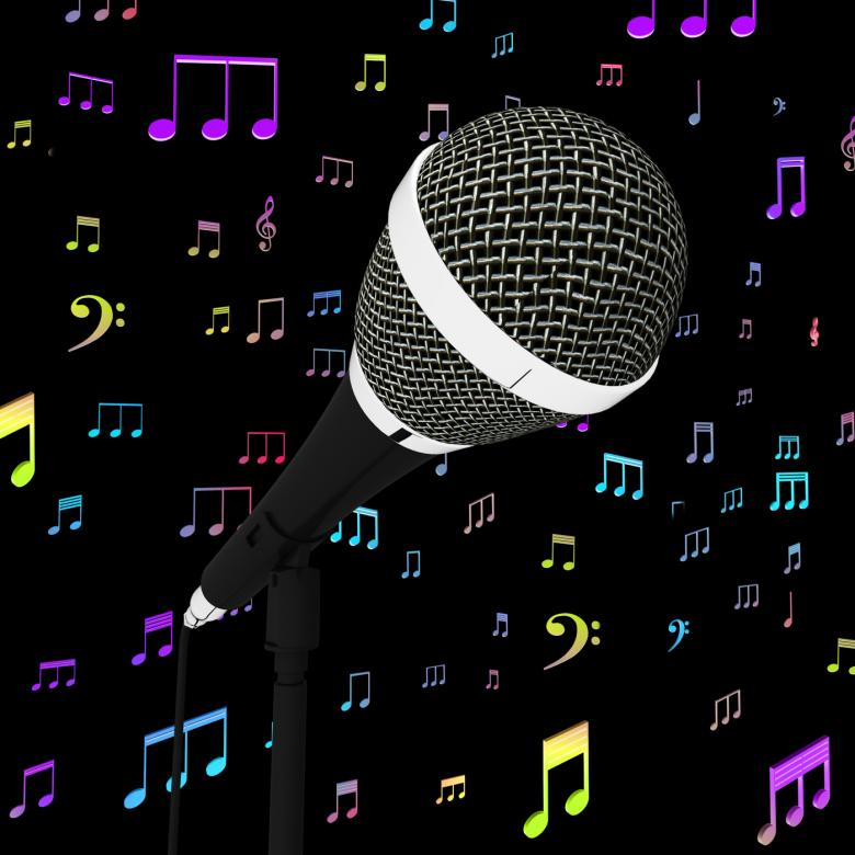Free Stock Photo of Microphone Closeup With Music Notes Shows Songs Or Hits Created by Stuart Miles