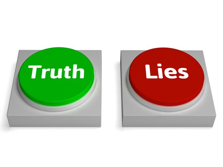 Free Stock Photo of Truth Lies Buttons Show True Or Liar Created by Stuart Miles