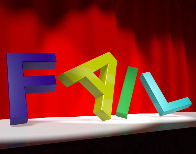 Free Stock Photo of Fail Letters Falling Over As Symbol for Rejection Failure And Malfunct Created by Stuart Miles
