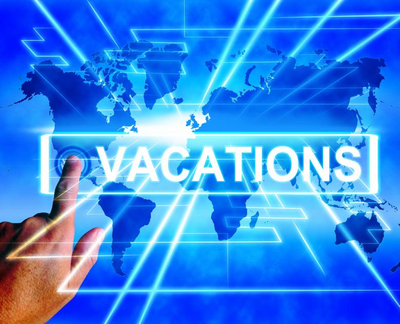 Vacations Map Displays Online Planning or Worldwide Vacation Travel - Free Travel Illustrations