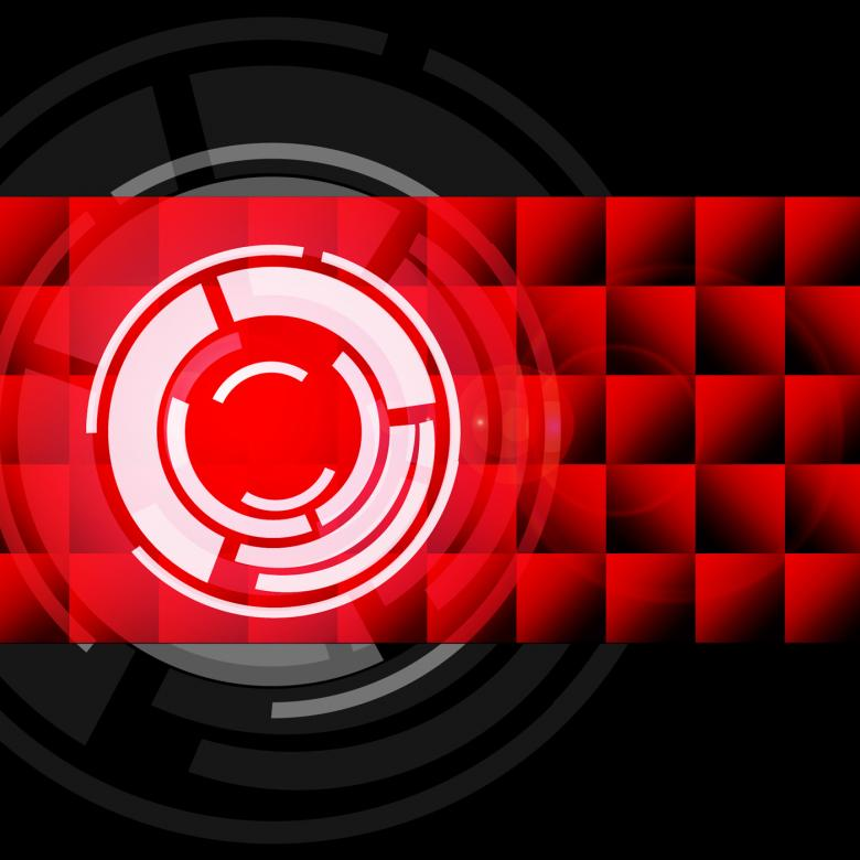 Free Stock Photo of Red Circles Background Shows LP Or Record Created by Stuart Miles