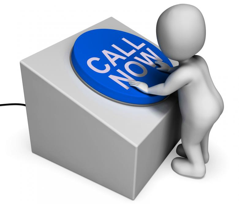 Free Stock Photo of Call Now Button Means Hotline Or Inquiries Created by Stuart Miles