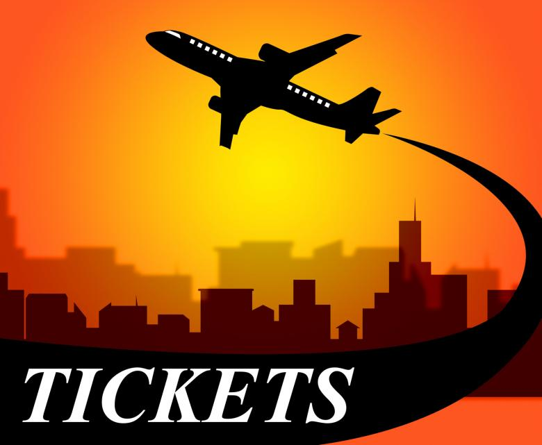 Flights Tickets Represents Aviation Transport And Travel - Free Travel Illustrations