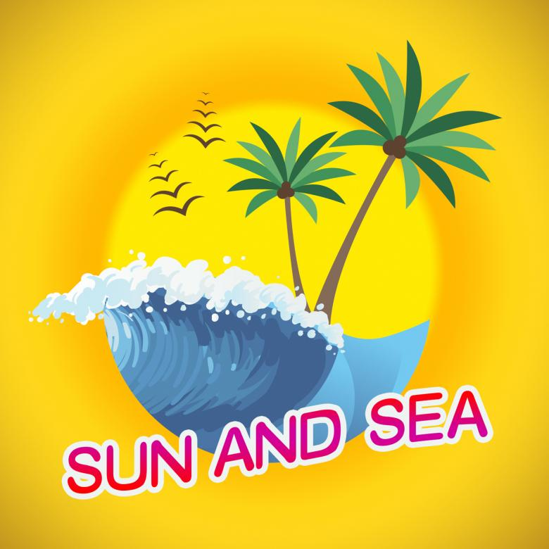 Sun And Sea Represents Summer Time And Sunshine - Free Travel Illustrations