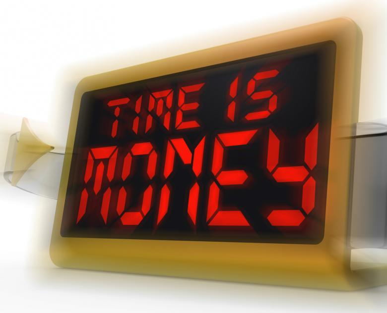 Free Stock Photo of Time Is Money Digital Clock Shows Valuable And Important Resource Created by Stuart Miles
