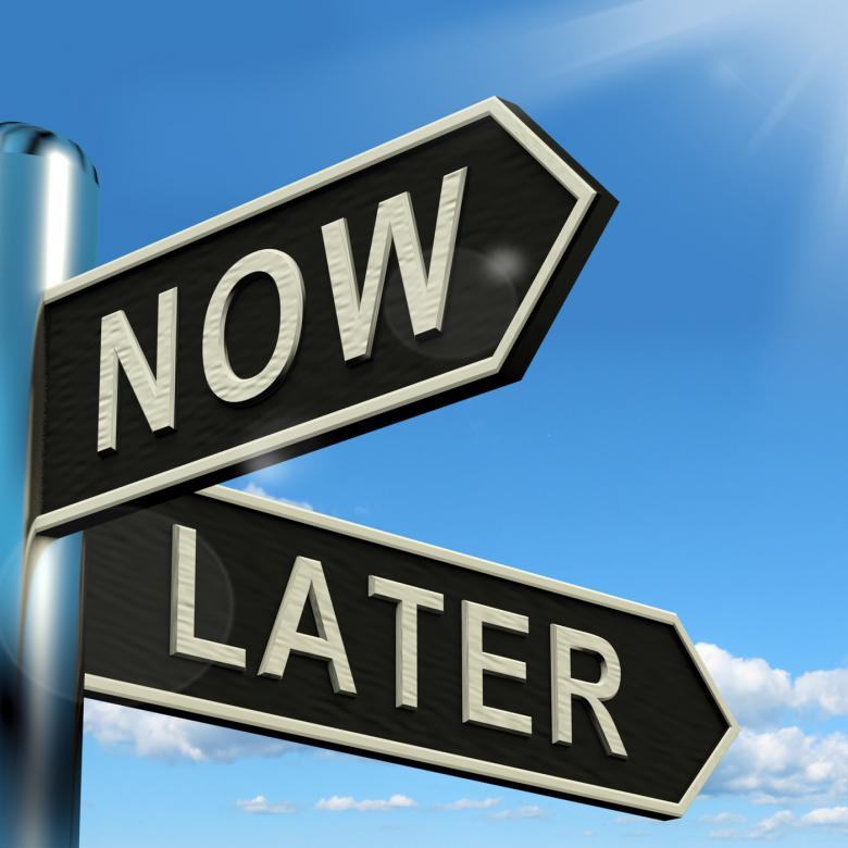 Free Stock Photo of Now Or Later Signpost Showing Delay Deadlines And Urgency Created by Stuart Miles