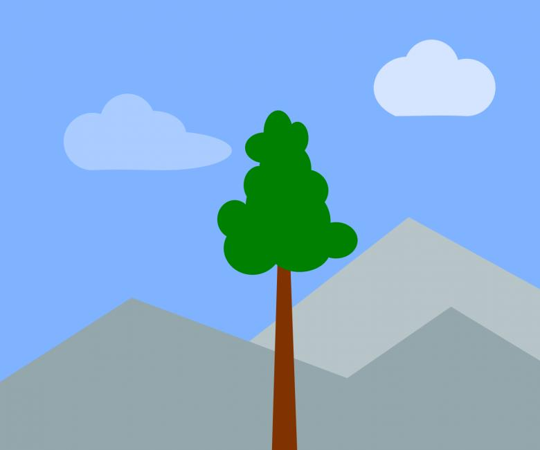 Free Stock Photo of Hill and Tree Illustration Created by pixloger
