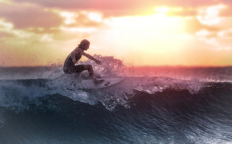 Free Stock Photo of Surfer at Sunset Created by Jack Moreh