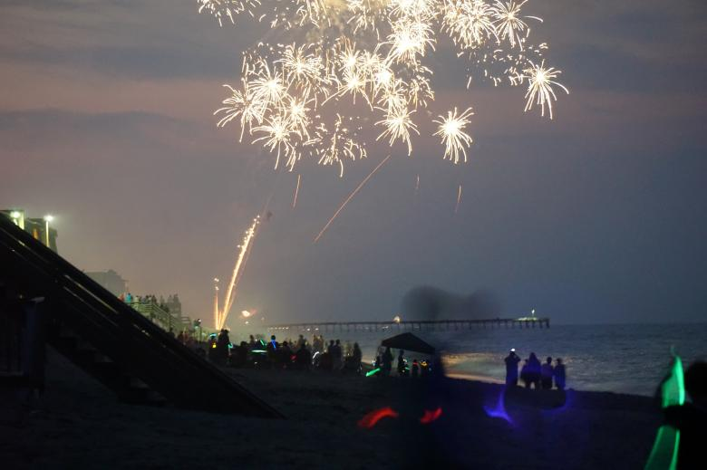 Free Stock Photo of Beach Fireworks Created by Brian