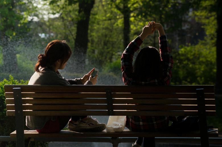 Free Stock Photo of Girls on the Bench Created by Pixabay