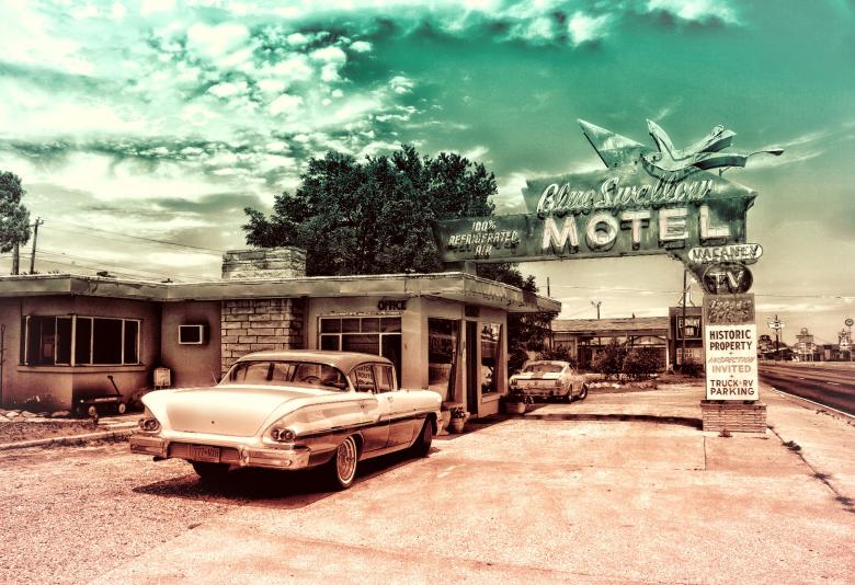 Free Stock Photo of Vintage Car and Motel Created by Jack Moreh