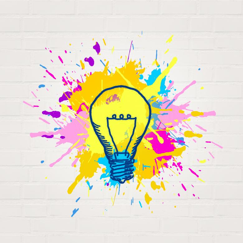 Free Stock Photo of Painted Lightbulb - Creativity and Imagination Concept - Abstract Created by Jack Moreh