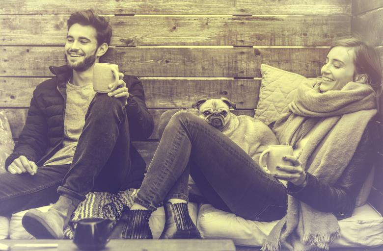Free Stock Photo of Young Couple Smiling and Relaxing - Vintage Looks
