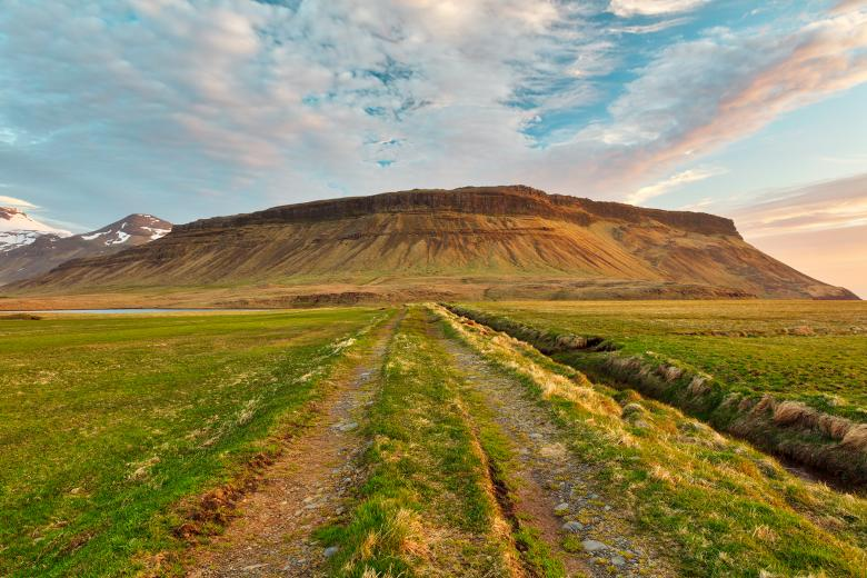 Free Stock Photo of Iceland Sunset Tractor Trail Created by Nicolas Raymond