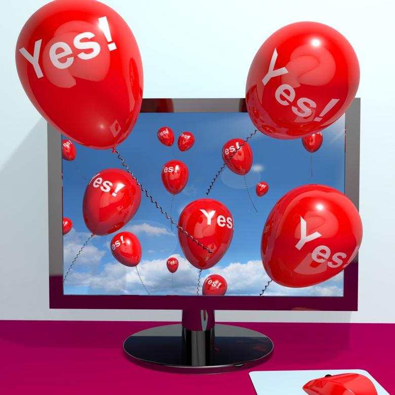 Yes Balloons From A Computer Showing Approval And Support Message Onli Free Photo