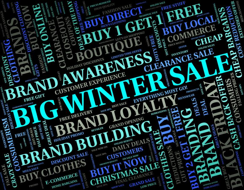 Free Stock Photo of Big Winter Sale Shows Retail Season And Large Created by Stuart Miles