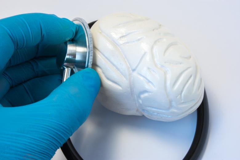 Free Stock Photo of The doctor examines the human brain with a stethoscope Created by Ivan Shidlovski
