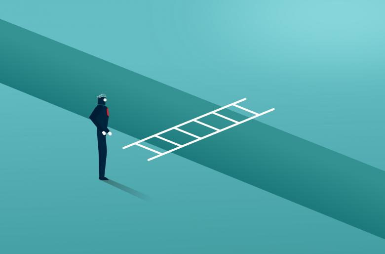 Businessman Facing a Moat With Ladder - Overcoming Barriers - Free Business Illustrations