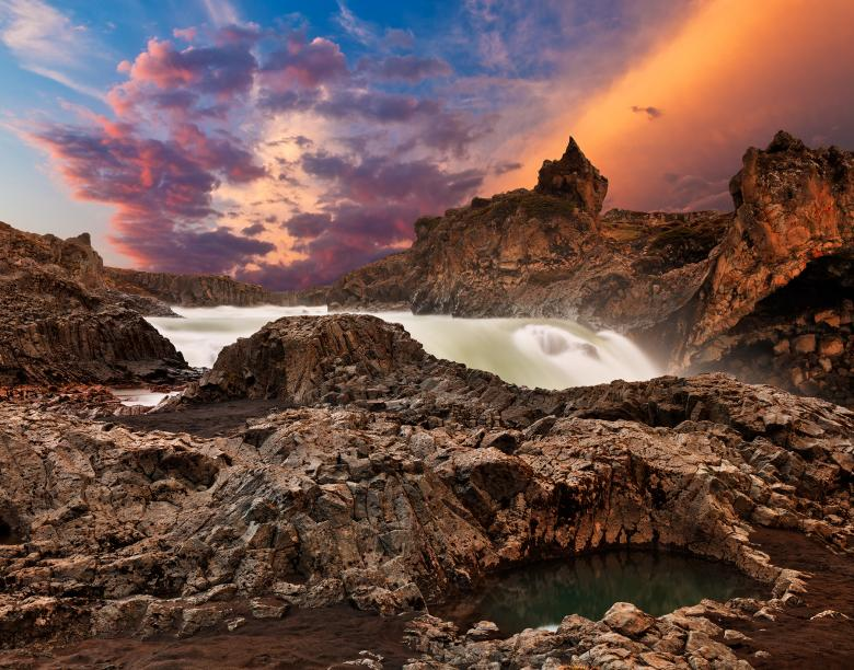 Free Stock Photo of Godafoss Sunset Fury Created by Nicolas Raymond