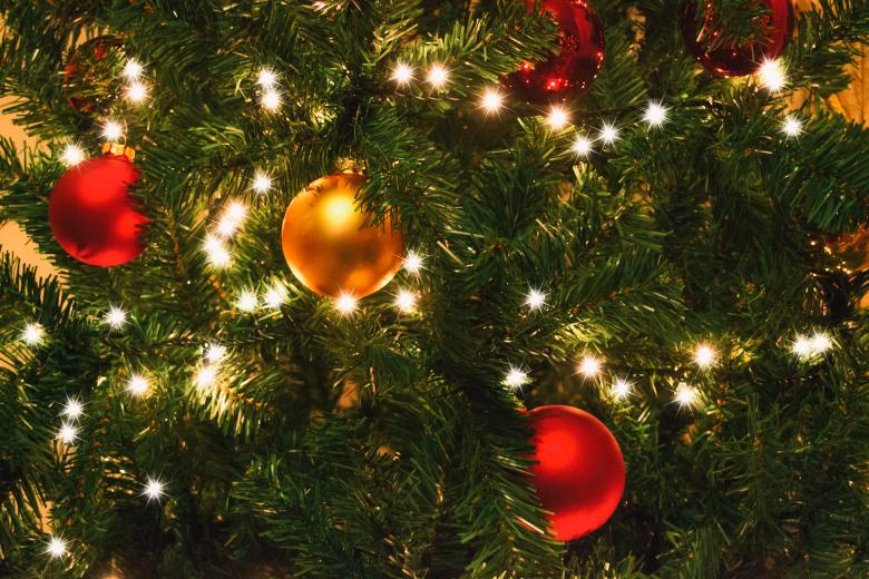 Christmas Tree with Golden and Red Balls - Free Christmas Stock Photos