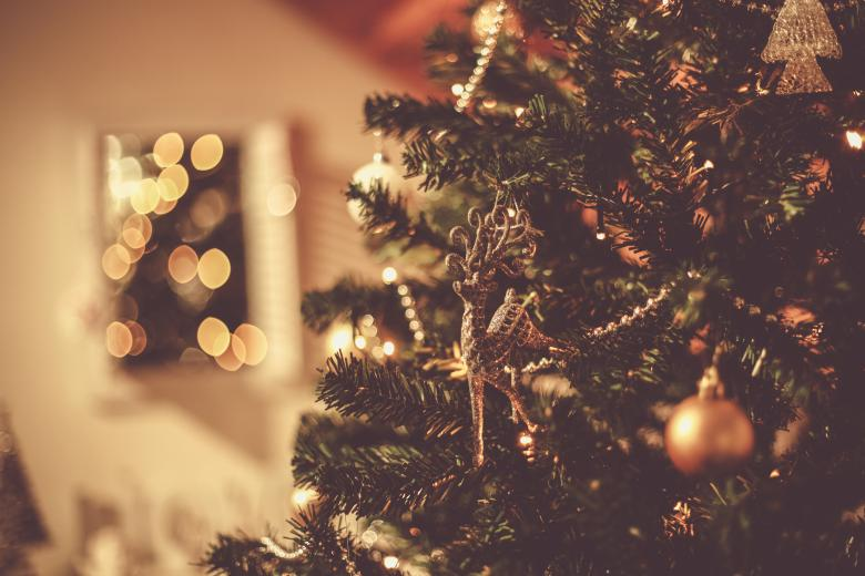 Beautiful Christmas Tree Close Up With Lights