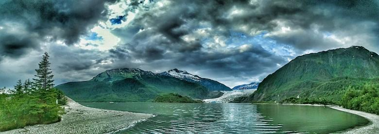 Free Stock Photo of Water and Mountains Panorama Created by agphotostock.com