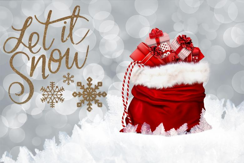Red Gifts Bag on Snow - Free Christmas Illustrations