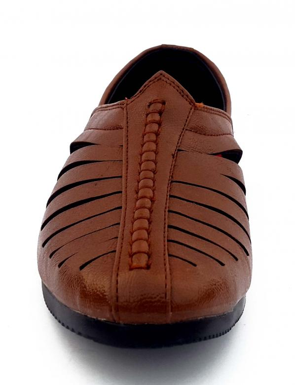 Free Stock Photo of Brown Male Leather Sandal - Front View Created by shiv Kumar