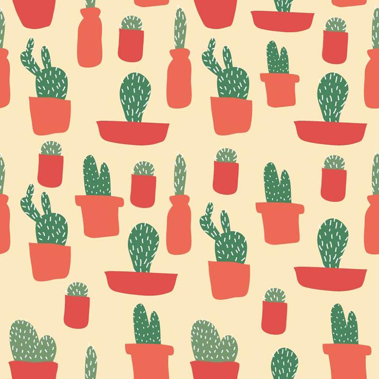 Seamless Cactus Vector Pattern - Free Vector Patterns