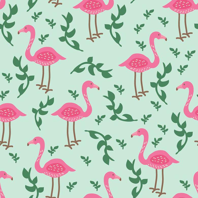 Seamless Flamingo Vector Pattern - Free Vector Patterns