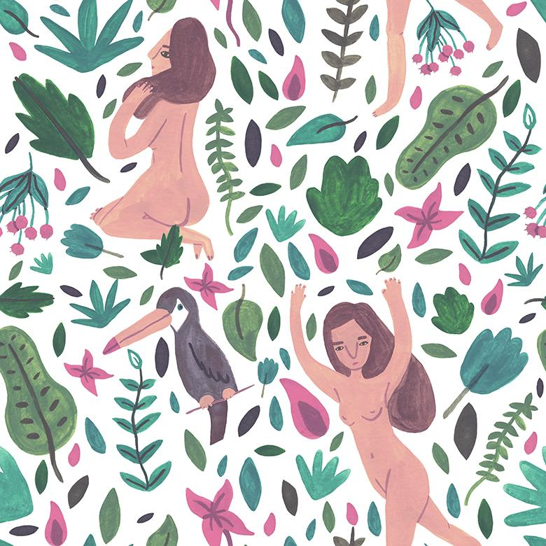 Tropical Pink and Green Vector Pattern - Free Vector Patterns
