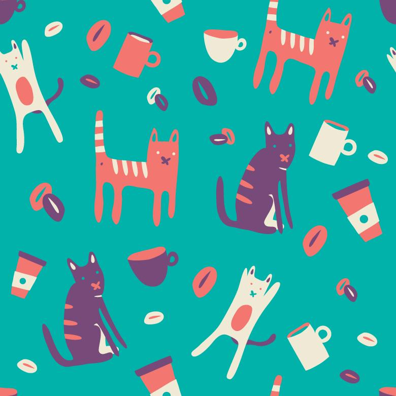 Seamless Vector Pattern of Coffee and Cats - Free Vector Patterns