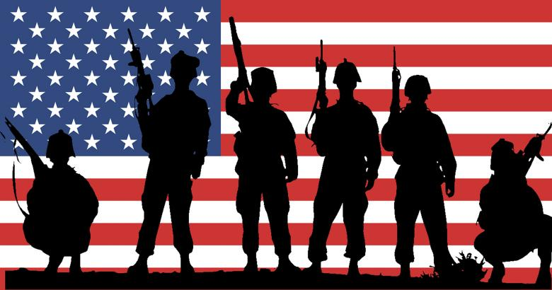 USA Flag with Soldiers Silhouette - Free Stock Photo by rudy liggett