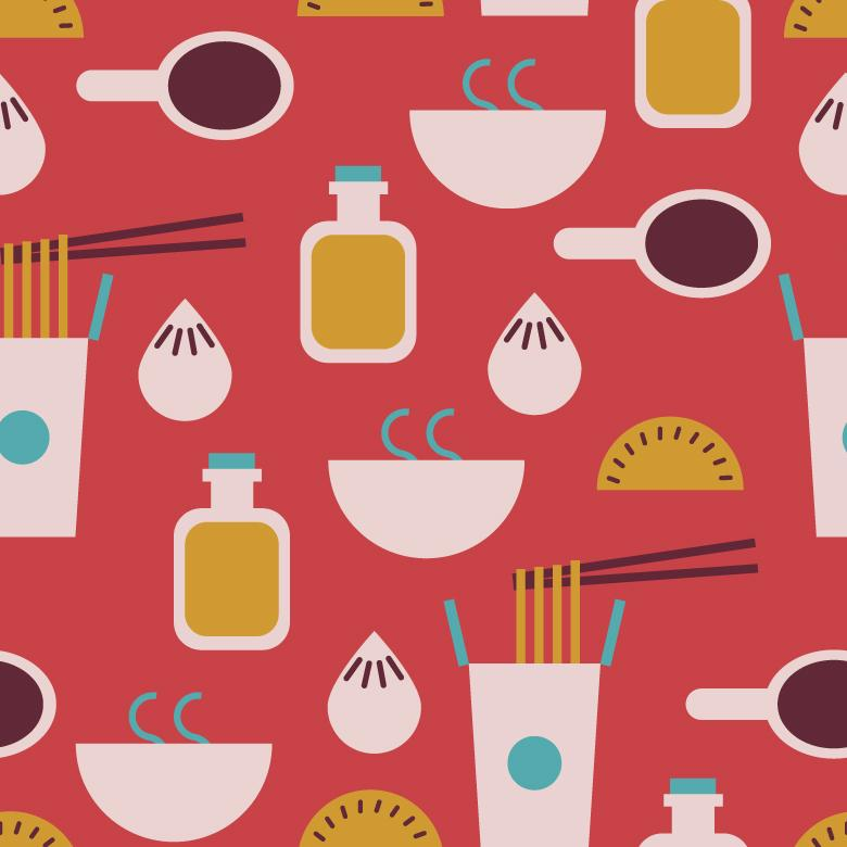 Seamless Chinese Food Pattern - Free Vector Patterns