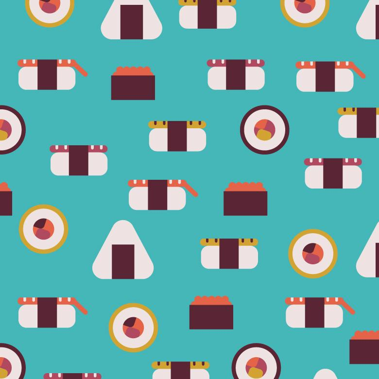 Seamless Sushi Blue Vector Pattern - Free Vector Patterns