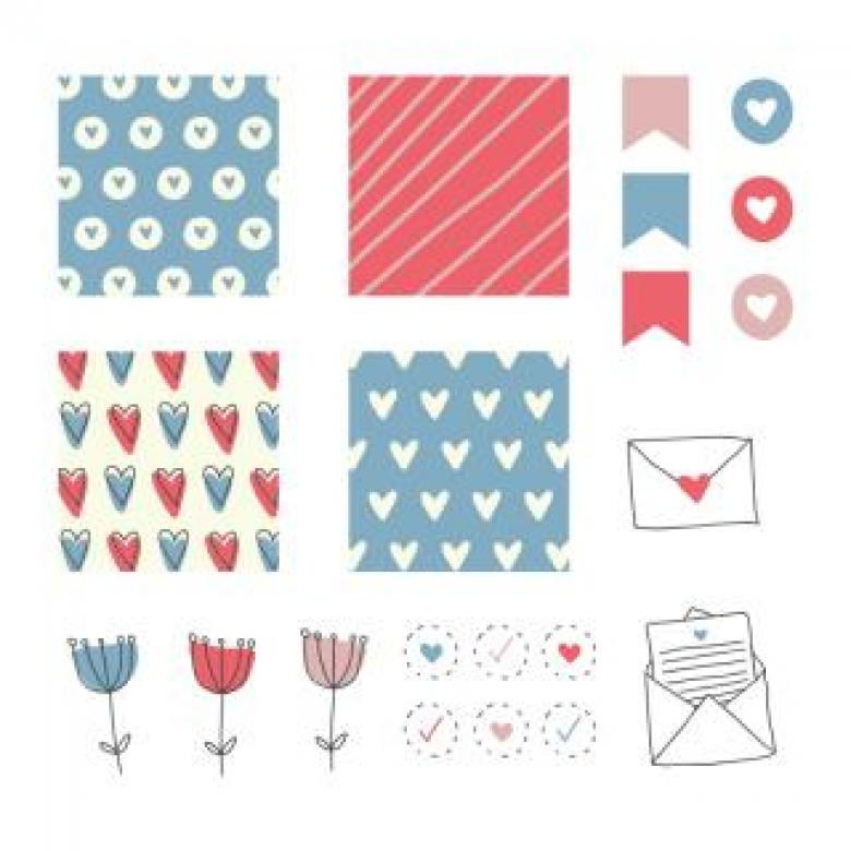 Free Stock Photo of Scrapbooking full with hearts and flowers Created by Sara