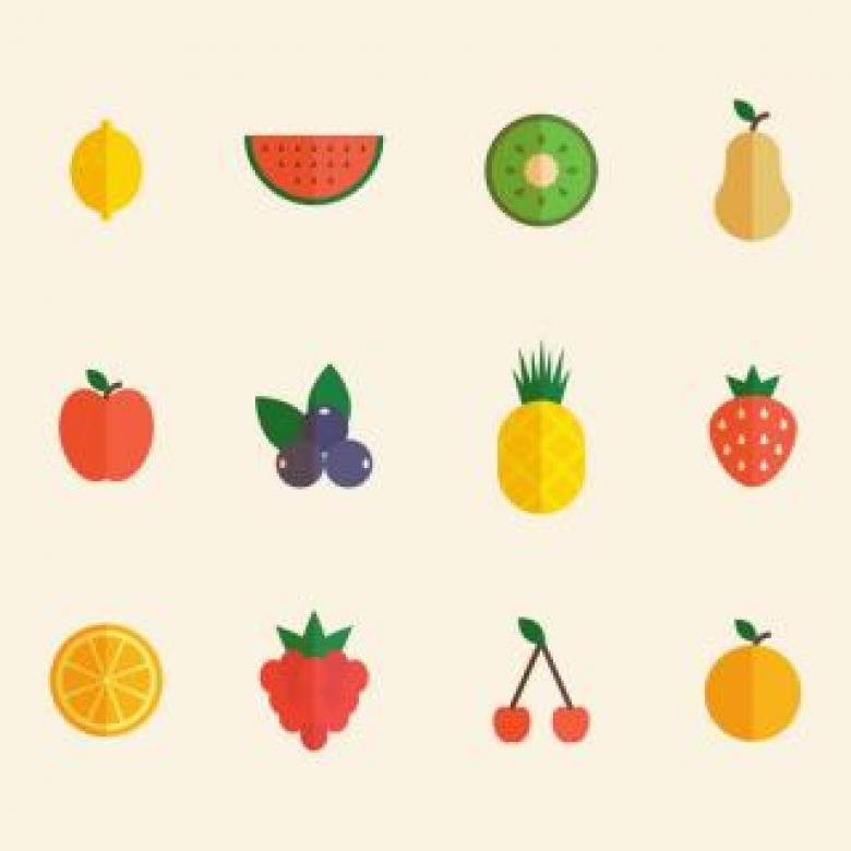 Set of Colorful Fruits Icons Free Photo