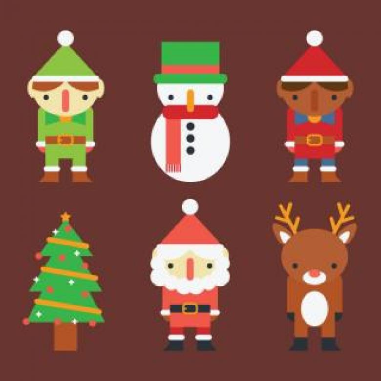 Free Stock Photo of Set of Christmas Characters Created by Sara