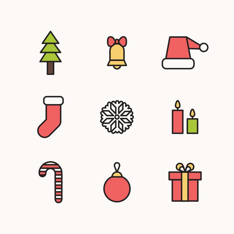 Free Stock Photo of Outlined Christmas Icons Created by Sara
