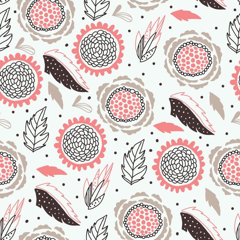 Seamless Pink and Brown Floral Pattern - Free Floral Backgrounds