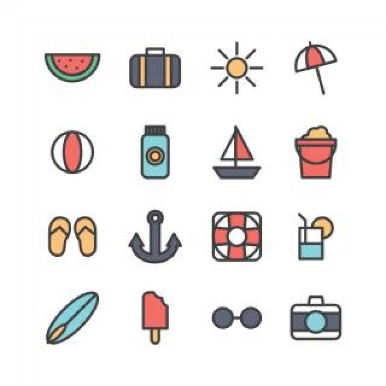 Outlined Summer Travel Icons - Free Travel Illustrations