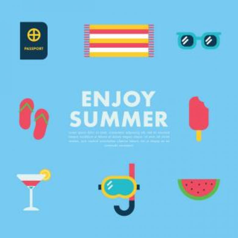 Enjoy Summer - Vector Icons - Free Travel Illustrations
