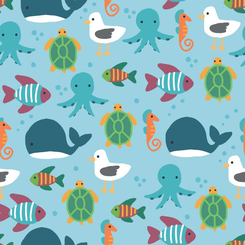 Ocean Animals Seamless Vector Pattern - Free Vector Patterns