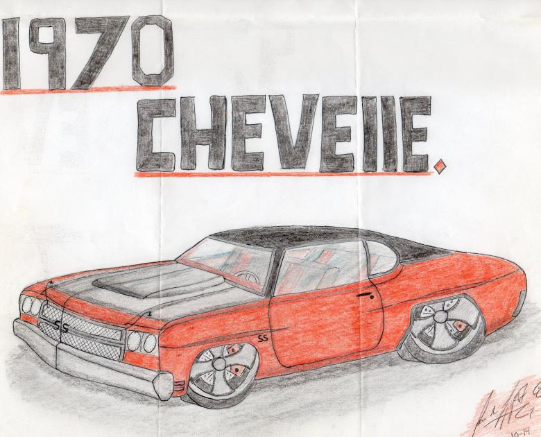 Free Stock Photo of 1970 Chevelle drawing by hand Created by rudy liggett