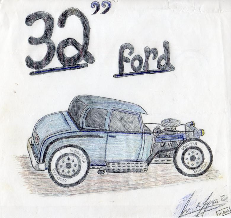 Free Stock Photo of Hot Rod drawing by hand Created by rudy liggett