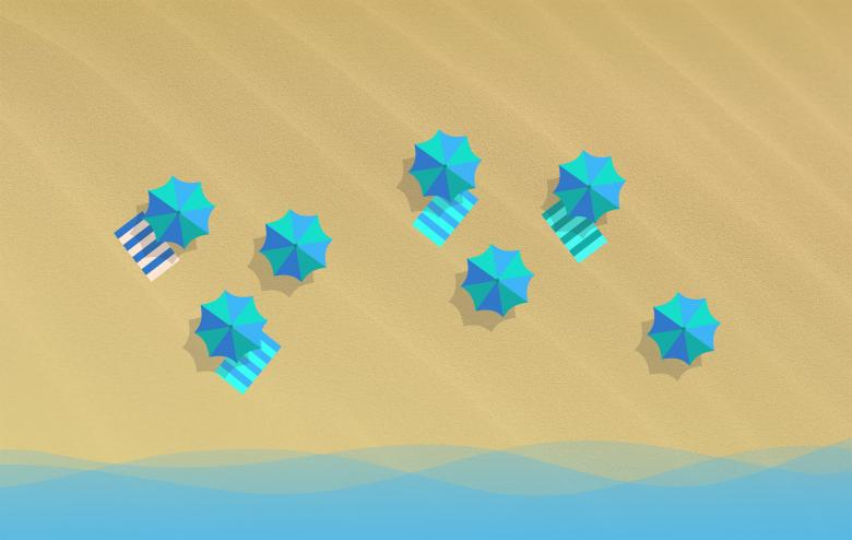 On the Beach Concept - Various Parasols - Top View - Free Travel Illustrations
