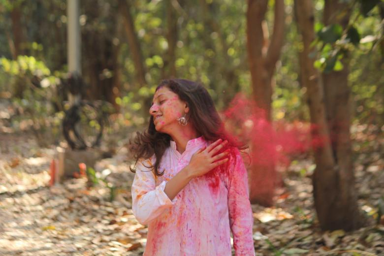 Free Stock Photo of Woman with Pink Color Powder Created by NAVJOT SINGH SIDHU